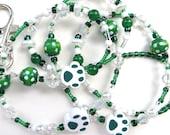 WILD PAWS- Beaded ID Lanyard- Polymer Clay Beads, Wood, Jade Gemstones, Pearls, & Crystals (Comfort Created)