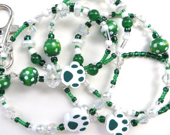 WILD PAWS- Beaded ID Lanyard- Polymer Clay Beads, Wood, Jade Gemstones, Pearls, & Crystals (Comfort Created)