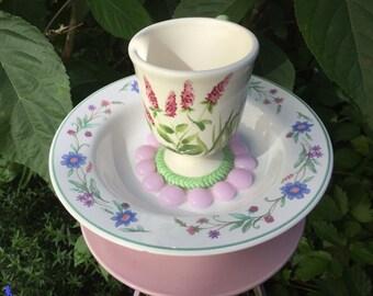 Pink Coneflower, Teacup Totem, Garden Totem, Tea CupTotem, Bird Feeder, Vintage Pedestal Plate, Yard Art
