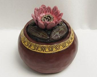 ceramic lotus jar; ceramic art; art pottery