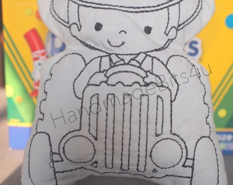 DoodleIts - Doodle It - Tractor and Boy - Washable Softie - Plushie