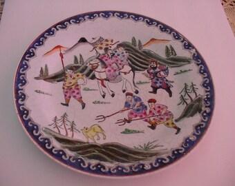 A Vintage Nora Fenton Decorator Plate Handpainted Macau Asian Warriors Hunting