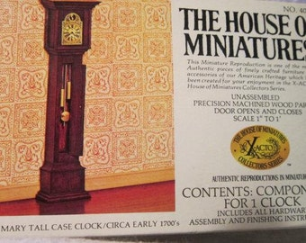 Dollhouse William and Mary Tall Case Clock Circa 1700 Dollhouse Furniture 40011 Vintage The House Of Miniatures