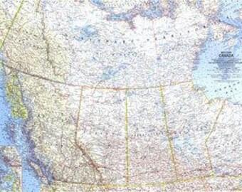 """Vintage Western Canada Map 1966 25"""" x 19"""""""