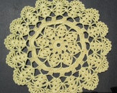 Crocheted Doily - Yellow - 7 inch Diameter