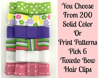 Girls Hair Clips, 6 Solid or Print Hair Clips, You Choose from Over 200 Color Choices, Tuxedo Bows No Slip, Babies Toddler Girls Women