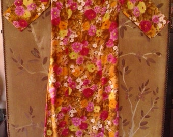 60s Sateen flower power dress with gold fringed collar