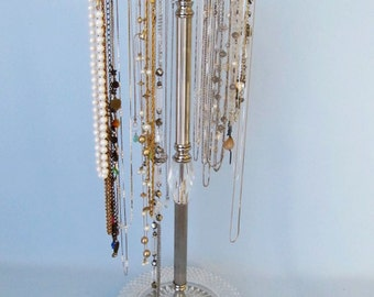 1930's  Pattern Glass Dished 4-Arm Necklace Stand  (Revolving)