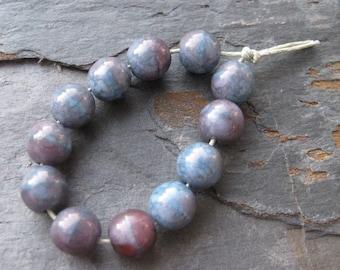 Blue Raspberry Czech Glass Beads w/ Moon Dust Finish 10mm Round (12)