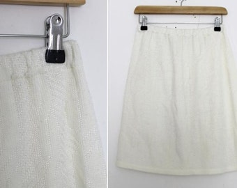 Vintage 1980s Off-White Cable Knit Pencil Skirt Size 8-10 UK, 4-6 US, 36-38 EU