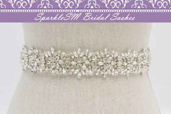 Rhinestone Bridal Sash, Rhinestone and Crystal Wedding Belt, Rhinestone Pearls Satin Sash, Jeweled Beaded Sash, Bridal Accessories - Ava