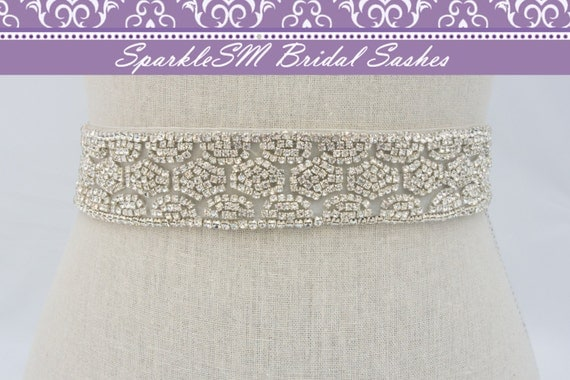 Rhinestone Bridal Sash, Rhinestone and Crystal Wedding Belt, Rhinestone Satin Sash, Jeweled Beaded Sash, Swarovski Bridal Sash Belt - Gracie