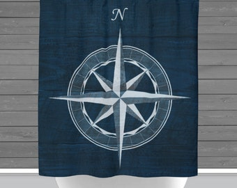 Compass Shower Curtain: Compass Rose North Nautical Beach House | 12 Eyelet/Button Hole | Size and Pricing via Dropdown