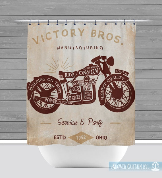 Motorcycle Shower Curtain: Man Cave Industrial Decor 12