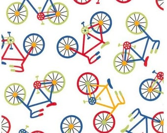 Fat Quarters ONLY - Bright Bicycles from Robert Kaufman's Ready Set Go 2 Collection