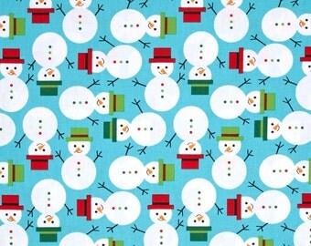 Jingle Snowmen on Winter Blue From Robert Kaufman's Jingle 3 Collection By Ann Kelle