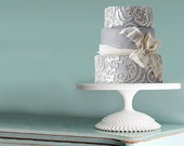 "18"" Wedding Cake Stand / White Cake Pedestal Stand for White Weddings / Milk Glass Centerpiece / Vintage - Inspired by The Roche Studio"