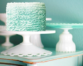 Mint Weddings / Cake Stand with Mint Ruffle Cake / Milk Glass Lace Cake Plate with  Mint Green Ruffle Ombre Wedding Cake
