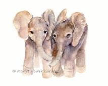 Baby Elephants watercolor print, Baby Art, baby elephant, elephant wall art, elephant watercolor, baby boy art, childs art