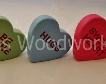 Set of 5 Valentine Wooden Conversation Hearts