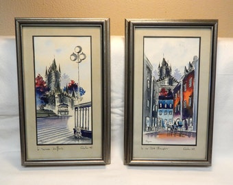 Quebec Canada French Watercolor Cityscape Paintings/Art SIGNED Home Decor