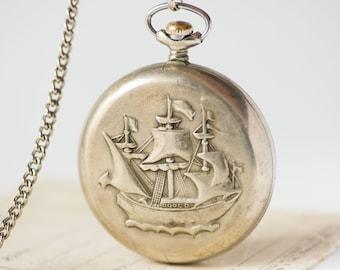 Sailer ornament men's pocket watch, gent's pocket watch Molnija\ Lightning, silver shade pocket watch with chain, sailing ship pocket watch