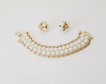 Vintage Jewelry Pearl Bracelet Earrings Gold Jewelry Pearl Jewelry Midcentury Jewelry  Beaded Jewelry Cluster  Earring Clip on Earrings