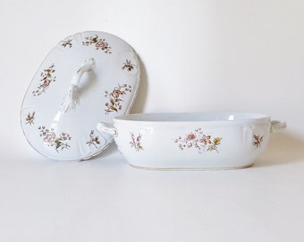 Antique Tacoma China Covered Casserole Vegetable Dish Dowton Abbey China Floral Covered Dish Wedding Bridal Decor Serving Piece