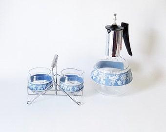 Midcentury Coffee Set Glass Coffee Set Jasperware Coffee Carafe and matching Sugar Creamer Set Elegant Serving Set Wedding Gift