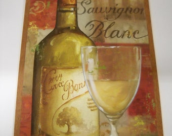 Sauvignon Blanc White Wine Bottle and Glass Wooden Wall Art Sign