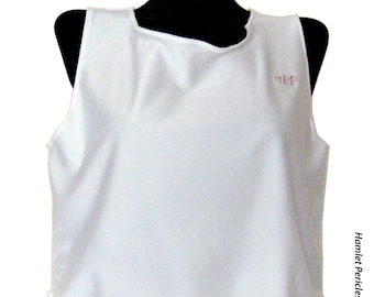 White Lycra women tank top/crop top w/ ruffled hem by Hamlet Pericles