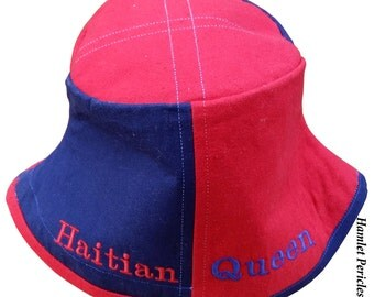 Haitian Queen Bucket Hat | Haitian Women | Haiti | Colorblock Hat | Red and Blue Hat by Hamlet Pericles | HP81914