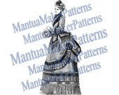 Victorian Dress Engraving, Instant Digital Download, 1870s #1