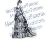 Victorian Dress Engraving, Instant Digital Download, 1871 #13