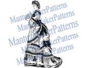 Victorian Dress Engraving, Instant Digital Download, 1871 #14