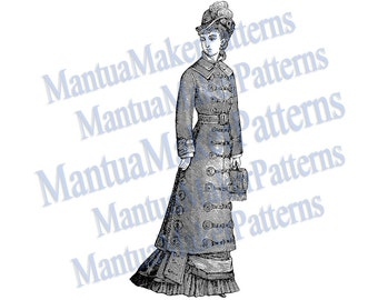"Victorian Dress Engraving, 11"" tall, Instant Digital Download, JPG & PNG, 1879 #3"
