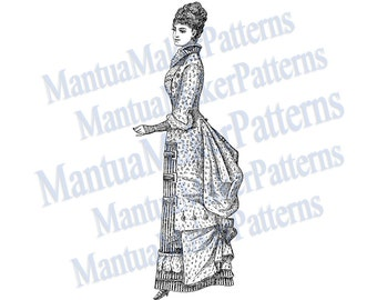 "Victorian Dress Engraving, 11"" tall, Instant Digital Download, JPG & PNG, 1879 #5"