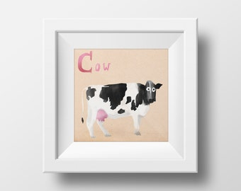Animal Alphabet Illustrated Cow Nursery Wall Art Giclée Print