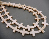 White Howlite Cross Bead Strand -- Beaded Sideways -- 1 STRAND (S31B11-02)