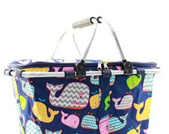 Monogrammed Market Tote - Whale Pattern - Bridesmaids Gift - Summer Tote - Insulated