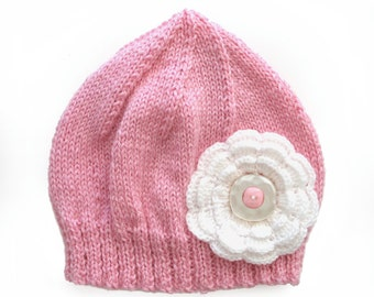 Girls Retro Handmade Pink Knitted Wool Beanie Hat with Flower & Buttons . Gift Idea . Size - Age: 4 5 6 7 .  OOAK , Made in Australia