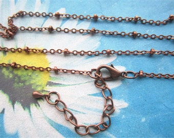 High quality 12pc 18 inch antiqued copper 2mm bead Solid cross chains with 2 inch extender--brass material