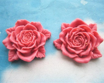 Large--2pc 45mm hot pink resin  flower cabochon/cameo charms--rose flowers