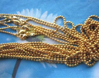 Brass material--12pc 16 -30 inch 2.4mm gold plated shiny Facet ball chain necklace with lobster clasps