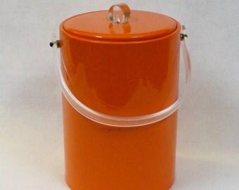 Vintage 1970s Mod Orange Vinyl Insulated Ice Bucket Lucite Handle and Lid Decor