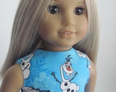 Frozen Inspired Doll Dress for the American Girl Doll featuring Olaf