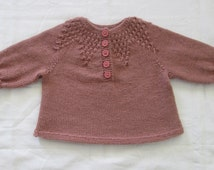 Baby Sweater Hand Knit Newborn to  3M Pullover Woodrose Pink Wool
