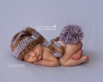 Crochet PATTERN - Crochet Stocking Hat Pattern - Crochet Patterns Baby - Includes 4 Sizes Newborn to Toddler - Photo Prop Pattern - PDF 233