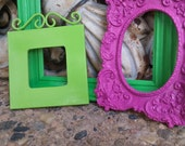 Collection of Frames, Pink and Green Frames, Dorm Decor, Painted Frame Set, Funky Bright Home Decor, Upcycled Vintage, Orange Decor