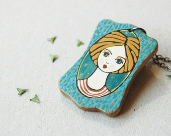 Hand painted girl necklace,cute girl pendant,wood pendant